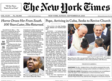 New York Times Article front cover screenshot